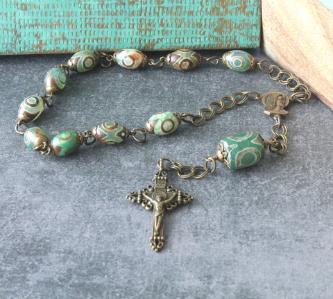 Our Lady of Fatima pocket rosary, green agate beads, bronze cross