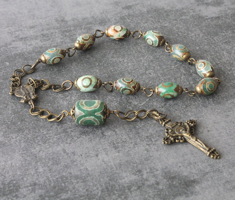 Our Lady of Fatima Pocket Rosary, Agate & Bronze