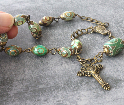 Single decade chaplet rosary, New Zealand made, green agate and bronze, sturdy