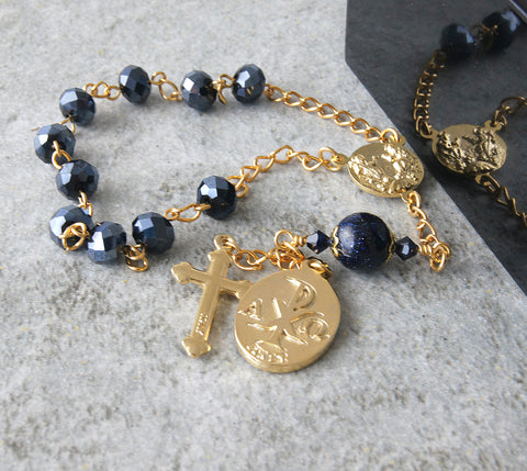 Catholic pocket rosary St Michael medal