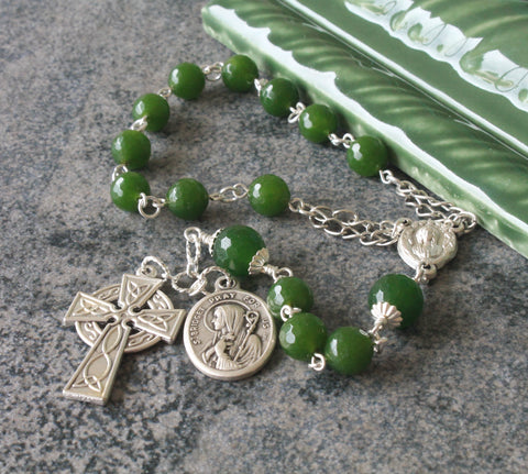 St Brigid of Ireland Pocket Rosary, Green Jade, Celtic Cross