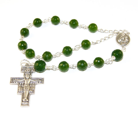 St Francis and St Clare Pocket Rosary, Greenstone - Nephrite Jade