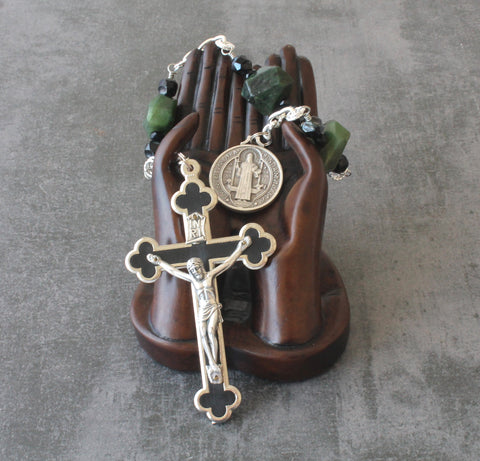 Large St Benedict Chaplet for Prayer or Wall Rosary, Greenstone