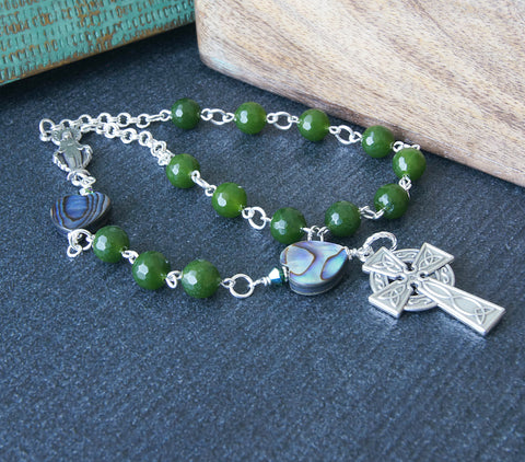 Greenstone paua shell Catholic pocket rosary, NZ made