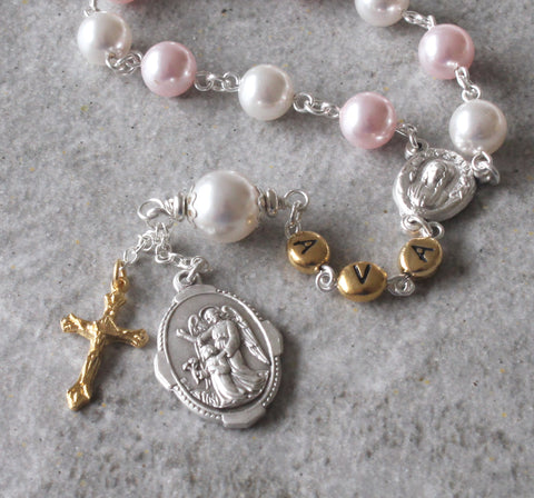 Baptism Gift, Baby Girl's One-Decade Guardian Angel Rosary