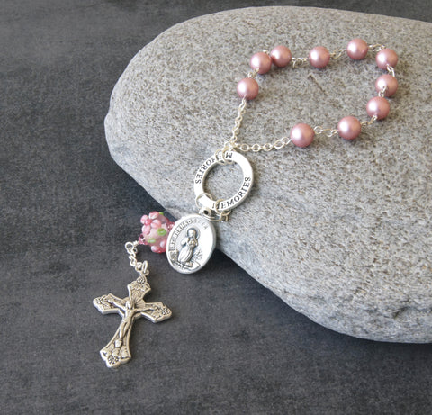 "St Bernadette & Our Lady of Lourdes ""Memories"" Pocket Rosary, Pink Pearls"