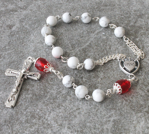 SacredHeart of Jesus pocket rosary, handmade