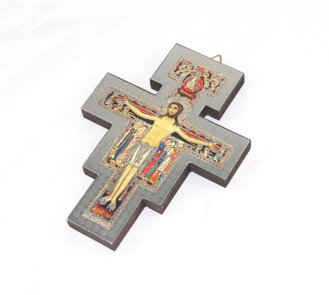 Saint Francis Cross for wall, wood with silver foil image, 13cm