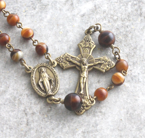 mans 6 decade rosary, smaller size brown glass beads, handmade New Zealand