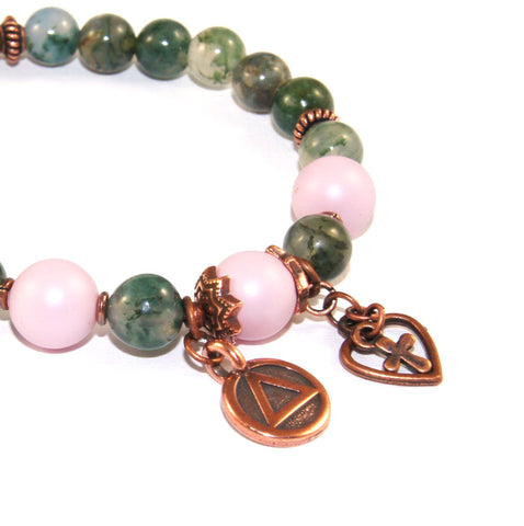 Recovery Bracelet, Green Agate Pink Pearls & Copper, Sobriety Gift