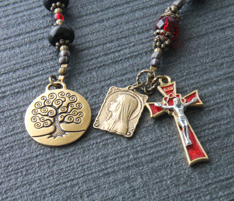 Tree of Life Catholic prayer beads, Virgin Mary St Bernadette, black crystal