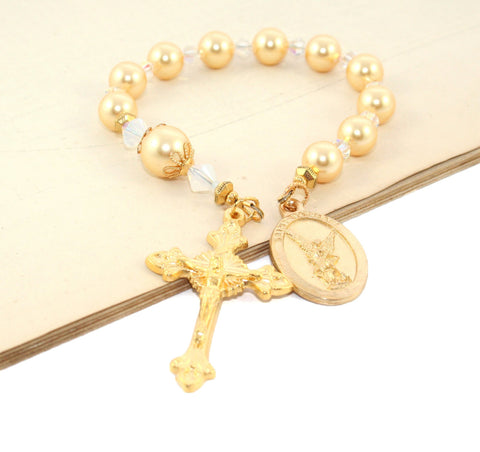 St Michael the Archangel Decima Rosary, Gold Swarovski Pearls