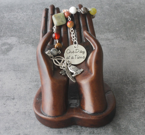 Sobriety Prayer & Meditation Beads, One Day At A Time, Serenity Prayer Charms