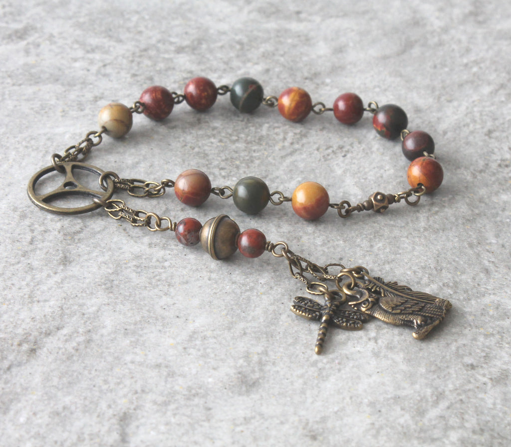 12 Step recovery prayer beads, mans sober gift