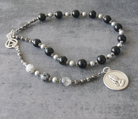 Serenity Prayer Beads, Sobriety Gift for Christians in 12 Step Recovery