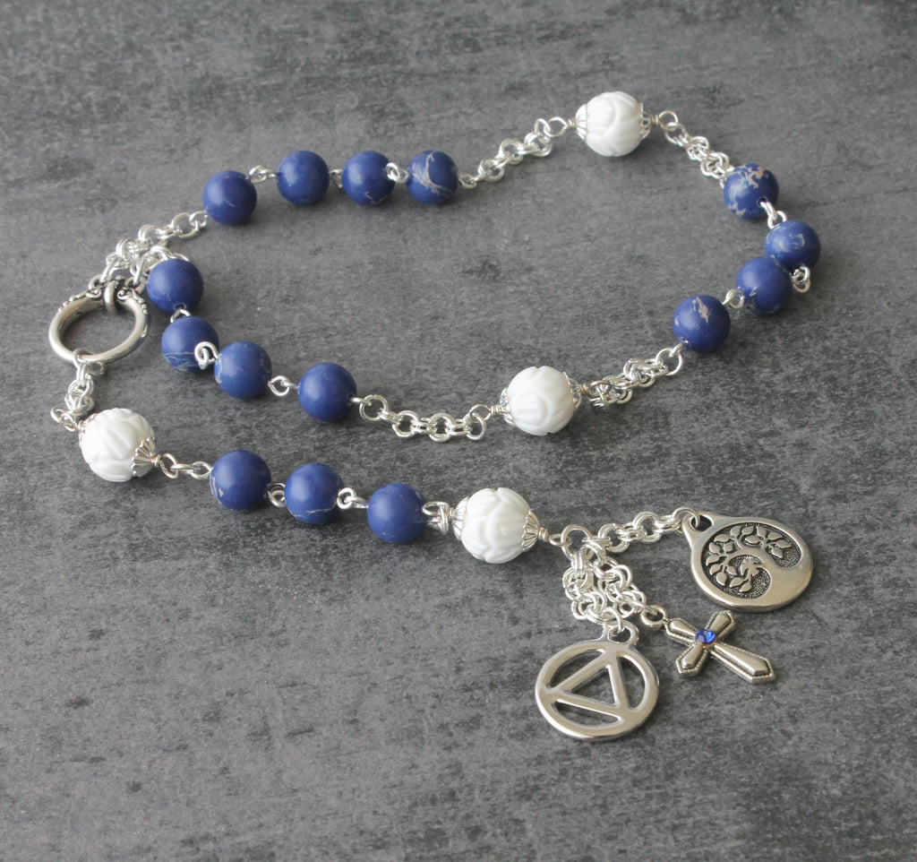 Recovery rosary, Unisex 12 Step Prayer beads, handmade in New Zealand