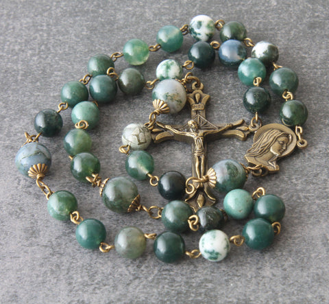 Catholic 3 Decade Rosary, Our Lady of Fatima with Natural Agate Beads