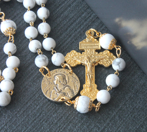 3 decade handmade rosary, Jeanne D'Arc, white stone beads