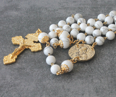 Joan of Arc 3 Decade Rosary, White Stone & Gold Pardon Crucifix