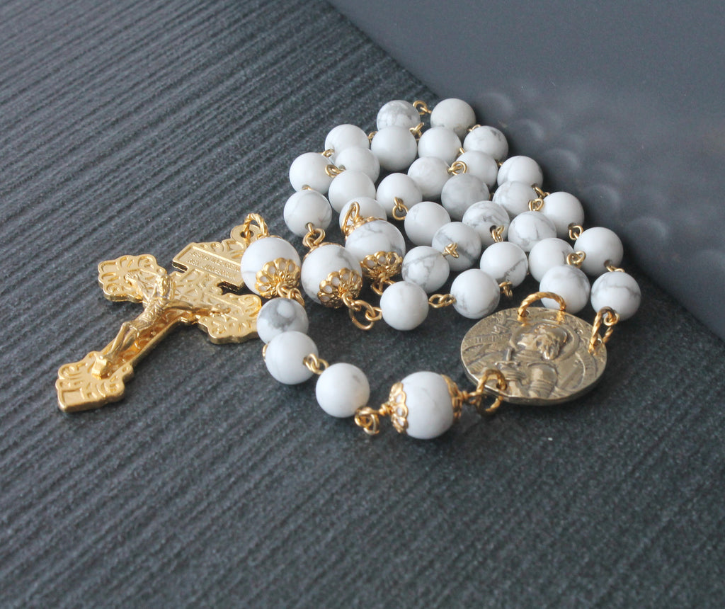 Joan of Arc rosary white gold, 3 decades handmade