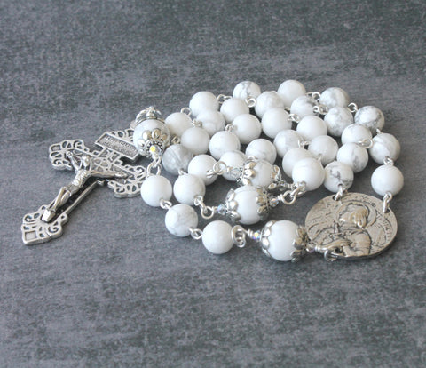 Joan of Arc 3 Decade Rosary, White Stone & Silver Pardon Crucifix