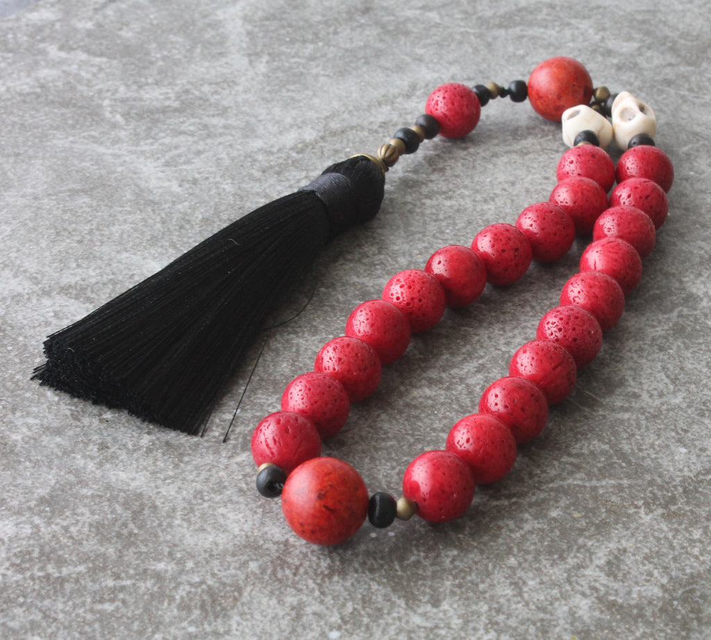 Renaissance Paternoster, red coral, memento mori beads