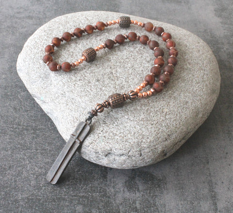 Medieval Paternoster Rosary, Agate & Copper
