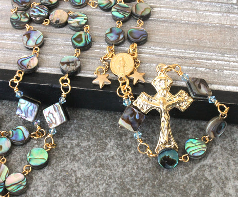 NZ Paua Shell Rosary with Name in Gold Letters