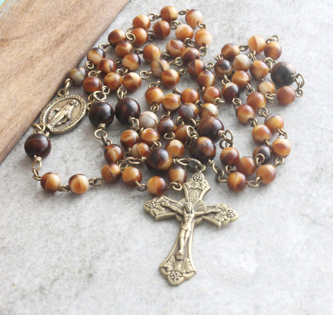 Carmelite rosary, 6 decades, bronze cross