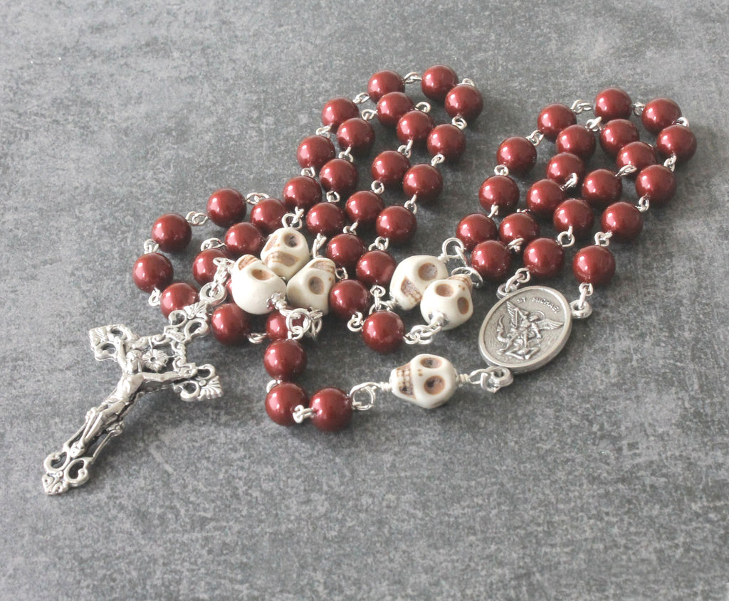 Swarovski pearl Middle Ages rosary, skull beads, handmade New Zealand