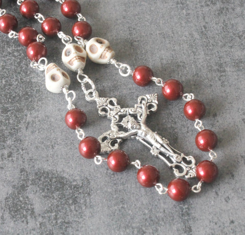 Saint Michael rosary with memento mori, burgundy and silver