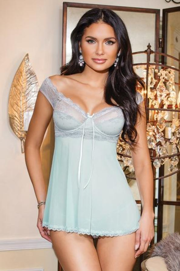 Coquette Stretch Mesh and Lace Babydoll - Aquamarine