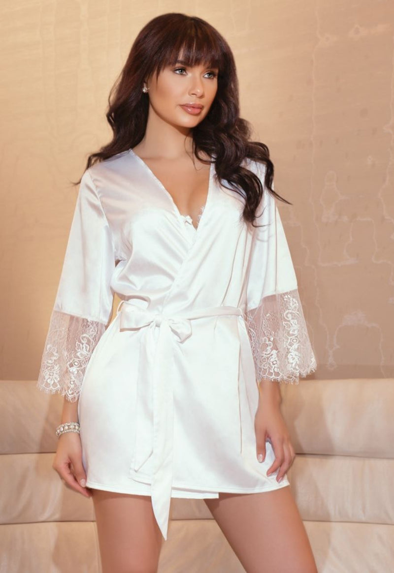 Coquette Satin Bridal Robe with Eyelash Lace - White