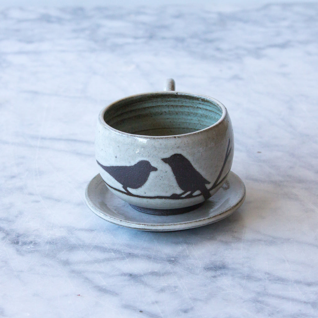 Tiny Espresso Cup with Handle and Saucer, Two Birds on Branch, Antique White