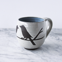 14oz Mug with Handle, Two Birds on Branch, Antique White
