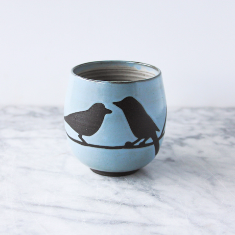 14oz Mug with Handle, Two Birds on Branch, Light Blue