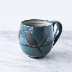 14oz Mug with Handle, Two Birds on Branch, Teal/Turquoise