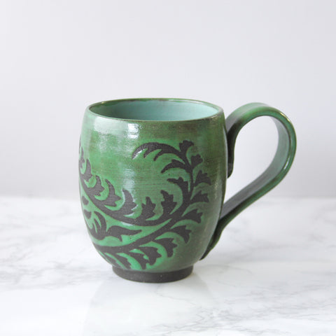 14oz Mug with Handle, Paisley, Grass Green