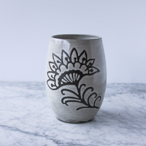 Henna Vase, Floral Design, Antique White