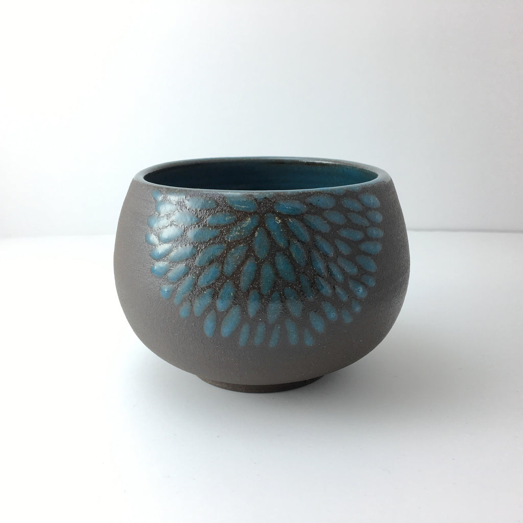 8oz Tea Cup, Chrysanthemum, Teal/Turquoise