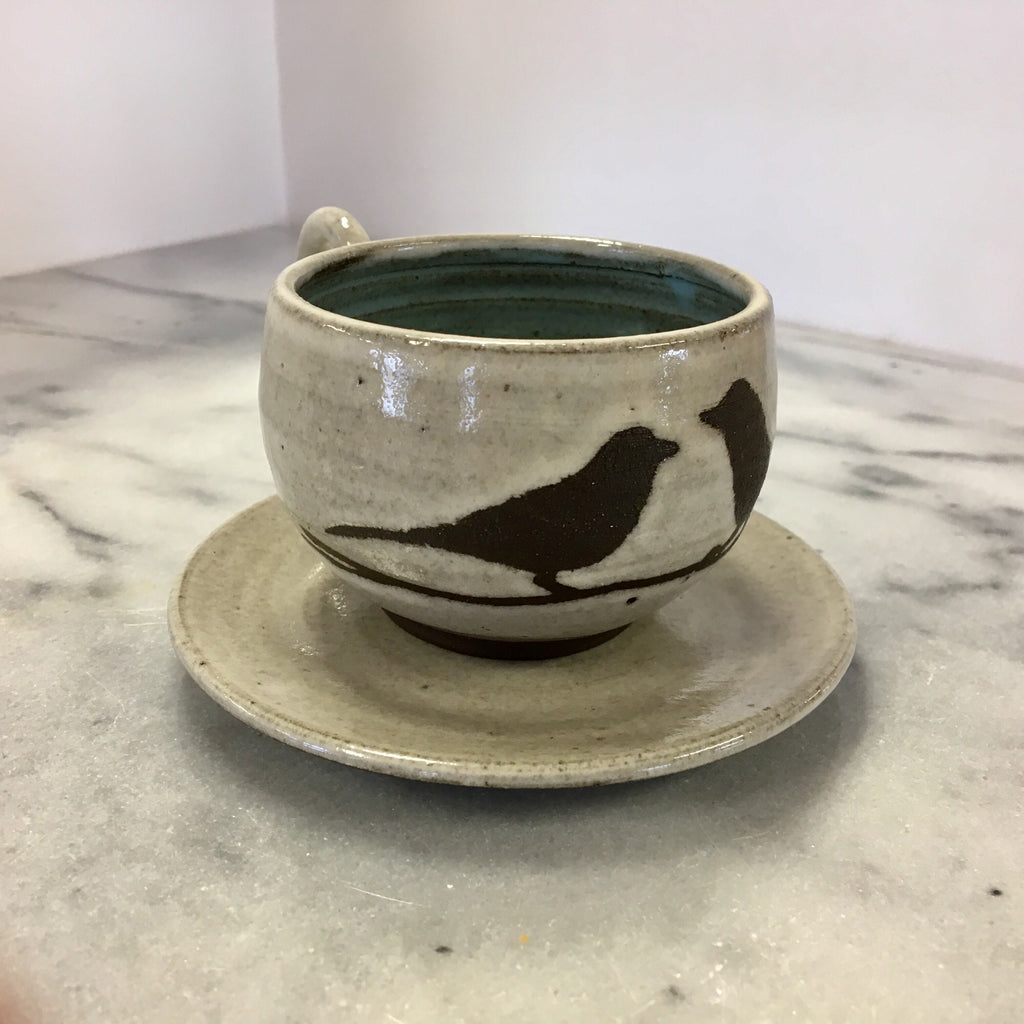 Bird Espresso Cup and Saucer, white with light blue inside