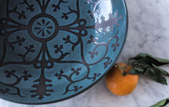 XL Serving Platter, Ingrid Pattern, Teal/Turquoise Glaze