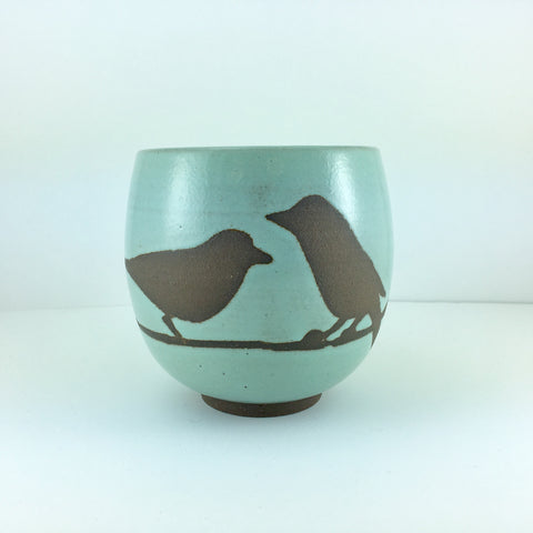 14oz Mug with Handle, Two Birds on Branch, Seafoam