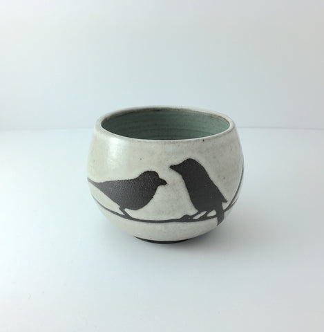 8oz Tea Cup, Two Birds on Branch, Antique White