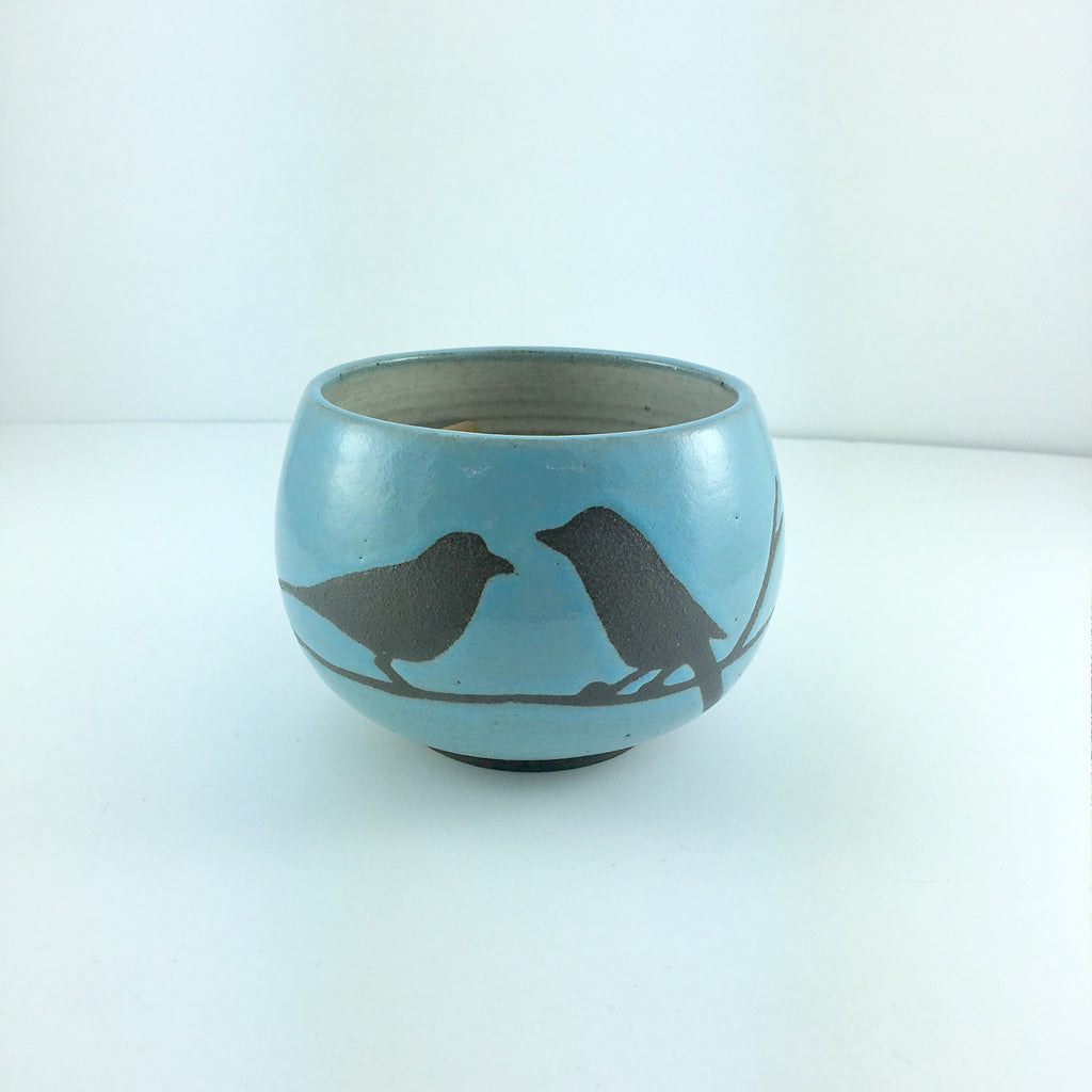 8oz Tea Cup, Two Birds on Branch, Light Blue