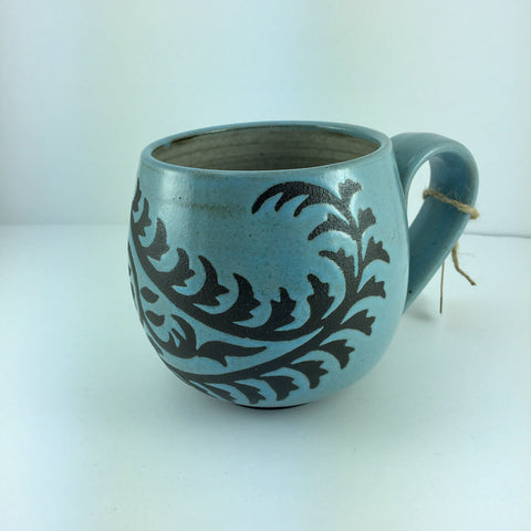 14oz Mug with Handle, Paisley, Light Blue