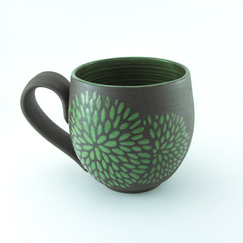 14oz Mug with Handle, Chrysanthemum, Grass Green