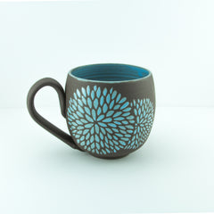 14oz Mug with Handle, Chrysanthemum, Light Blue