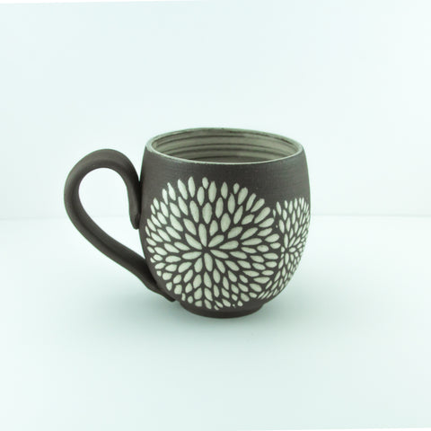14oz Mug with Handle, Chrysanthemum, Antique White