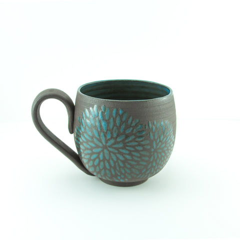 14oz Mug with Handle, Chrysanthemum, Teal/Turquoise
